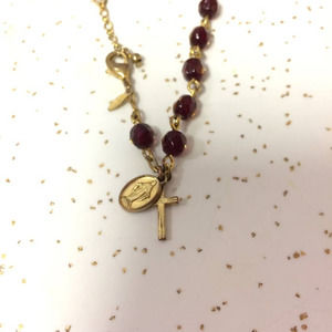 Avon signed SP red and gold-tone rosary bracelet